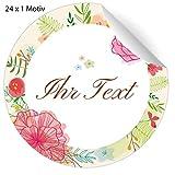 24 romantische Aufkleber mit leichten Blüten und ihrem Namen, Adresse, Text nach Wunsch für...