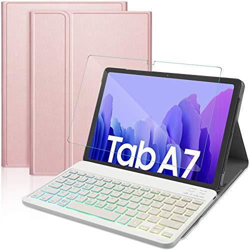 IVSO Clavier Étui Compatible avec Samsung Galaxy Tab A7 2020, [AZERTY Layout] 7 Couleurs étroéclairé Détachable Clavier+Verre Trempé pour Samsung Galaxy Tab A7 10.4 Pouces 2020, Rose Or