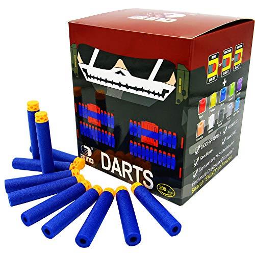 EKIND 200 Pcs 7.2cm TPR Waffles Soft Head Darts Refill Foam Bullet Compatible for Nerf N-Strike Elite AccuStrike Guns (Blue)
