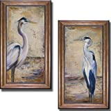 Artistic Home Gallery Blue Heron I & II by Patricia Pinto 2-pc Premium Bronze-Gold Framed Canvas Set (28 in x 16 in Each Framed Size in Set, Ready-to-Hang)