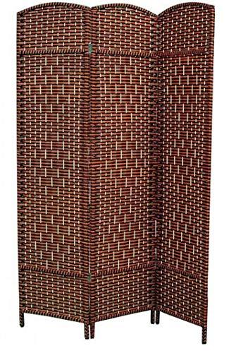 Hogar y Mas Biombo Separador de Madera Bambú y Papel Trenzado, Marrón Chocolate, 4 Paneles, Plegable 180x135 cm