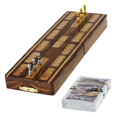 Ajuny Traditonal Wooden Cribbage Brettspiel mit Metallstiften und Karten mit Lagerbereich Brettgröße 5x3,25x2 Zoll