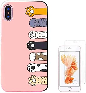 Shellstyle Cute Phone Cases for iPhone 6/6 Plus/iPhone 7/7 Plus/iPhone 8/8 Plus/iPhone x/10 Luxury Flexible TPU Gel Case with Phone Stand (Cat paw, iPhone 6/6s Plus (5.5 inch))