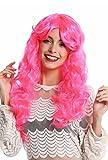WIG ME UP- 91249-PC5 Peluca Mujer Halloween Carnaval Muy Largo Rizado rizos voluminoso Raya Partido Fucsia Rosa