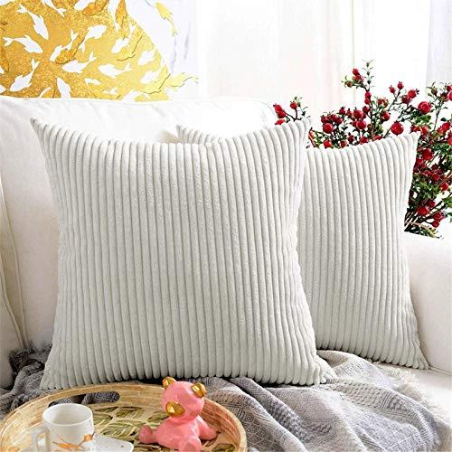 Houpoo Juego de 2 fundas de cojín de pana cuadradas a rayas, para decoración de salón o dormitorio, color crema, 50 x 50 cm