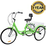 "Slsy Adult Tricycles 7 Speed, Adult Trikes 20/24 / 26 inch 3 Wheel Bikes, Three-Wheeled Bicycles Cruise Trike with Shopping Basket for Seniors, Women, Men. (Bright Green, 24"" Wheels/ 7-Speed)"