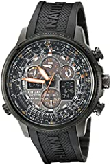 Light-powered watch with orange accents featuring multi-function chronographs, luminous markers, and digital information displays 48 millimeter stainless steel case with Anti-Reflective Mineral Crystal Japanese quartz movement with analog display. Ch...