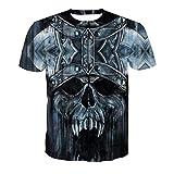 Camiseta 3D para hombre, diseño de cabeza de cráneo, armadura, castillo de fútbol, uniforme de diseño, impresión digital azul M