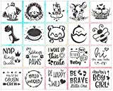 EKOI Stencils for Baby Shower Decorating Kit - Infant Nursery Boy Girl Decorate Painting for Own Plain Fabric Bibs Clothes Tshirt Cute Animal Themed Funny Word Saying Supplies - 20 Design Bulk