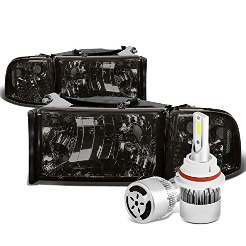 For Dodge Ram 2nd Gen BR/BE Smoked Lens Clear Corner Headlight & Corner Light + 9004 LED Conversion Kit W/Fan