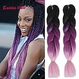 Jumbo Box Braids Crochet Hair 6 Packs 24' 3 Tone Ombre Black Purple...