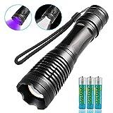 JTENG LED Taschenlampe mit 3 AAA Batterie , 2 IN 1 UV-Taschenlampe,5 Modi 400LM, 395nm Ultraviolett Taschenlampe ,Zum Erkennen von