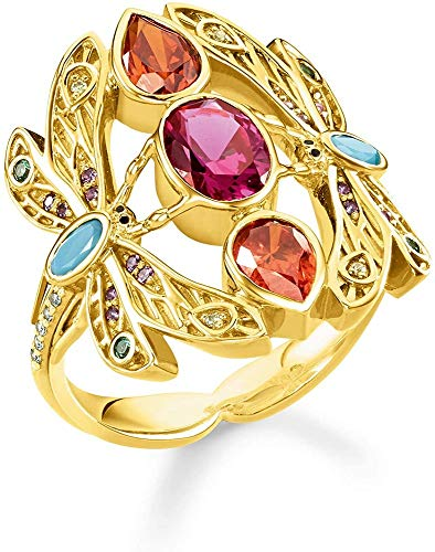 Thomas Sabo Damen-Ring Libelle 925er Sterlingsilber Gelbgold TR2228-471-7-56