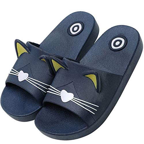 Badelatschen Kinder Antirutsch Dusch Badeschuhe Jungen mit Weich Fussbett Sommer Cartoon Hausschuhe Slip On Bade Sandalen Indoor Blau 33/34