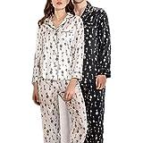 LYLSXY Pijamas, Pareja Modelos Seda Pijamas de Manga Larga de 2 Piezas Traje de Gran Tamaño Primavera Y Verano,2Xl de Hombres,2Xl de Hombres