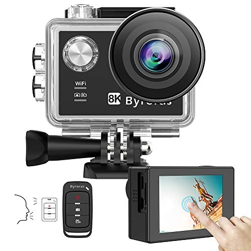 BYRORAS 8K/15fps Action Cam 4K/60ps Videocamera 20MP Action Camera WiFi 2.0' Touch Screen Comando Vocale 40m Ultra HD Fotocamera Subacquea Grandangola