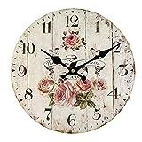 HUABEI 30CM Reloj de Pared Vintage Retro Silencioso Decoración para Habitación Dormitorio Cocina...