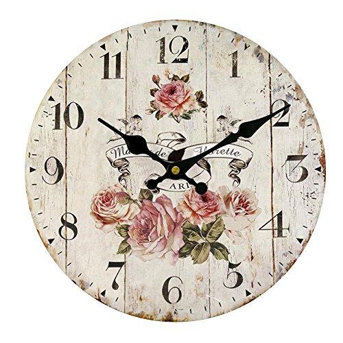 shabby orologio da parete HUABEI 30 cm Orologio da Parete di Legno Silenzioso Stile Vintage Decorazione a Muro (Rosa)