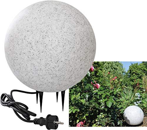 Kugelleuchte für Aussen 28cm mit Erdspieß IP44 1,5m Kabel E27 Fassung Wetterfest UV Frostbeständig Ø 28cm, Stein Optik