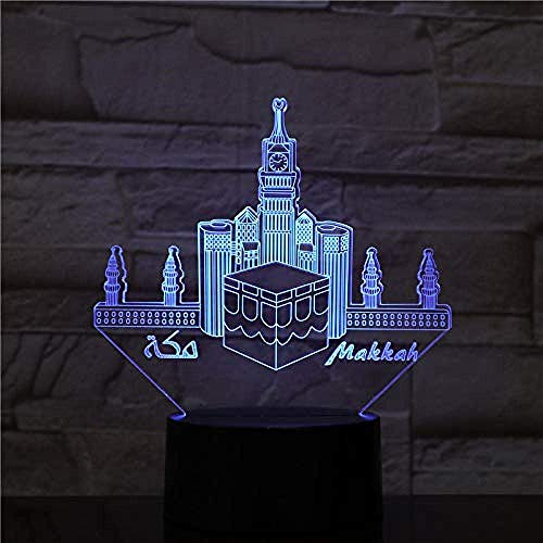 Luz de noche 3D Meca Mezquita USB 3D LED Lámpara de luz nocturna Decoración RGB Niños Regalo de bebé Edificio famoso Lámpara de mesa Luz de neón de cabecera