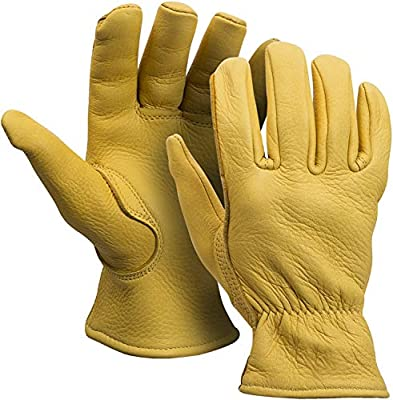 MEN`S FULL GRAIN TAN DEERSKIN LEATHER GLOVES LINED 40 GRAM 3M THINSULATE (American Fur) (Medium)