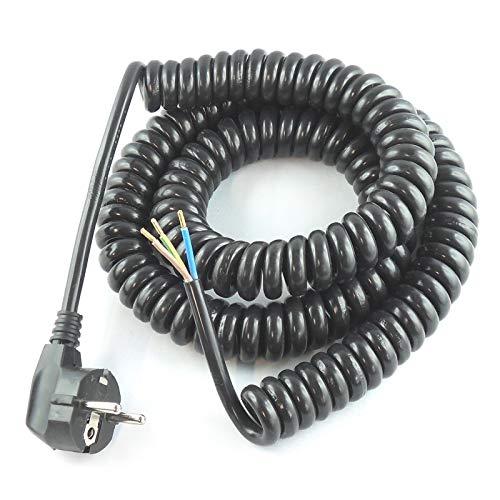 WITTKOWARE Spiralkabel mit Schutzkontaktstecker, 3G1,5mm², 120cm, max. 4m, schwarz