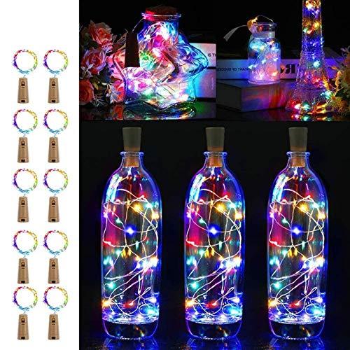 Yiyu LED Flaschenleuchten Mit Kork, Lichterketten Kork Kupferdraht Lampe, 2,2 M 20Leds Batteriebetriebene Weinschnurleuchten Für Heimwerker, Partys, Dekoration, Weihnachten x (Color : Clear)