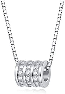Necklace, Sterling Silver S925 Pendant Women's Clavicle Chain Simple Couple Personality Fashion Jewelry (Color : Silver, Size : 5.5 * 6mm)