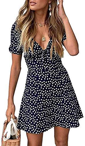Frecoccialo Mini Vestito da Donna Estivo Abito da Cocktail Casual Elegante a Linea A con Maniche Corte Scollo a V Stampa Floreale (Blu, L)