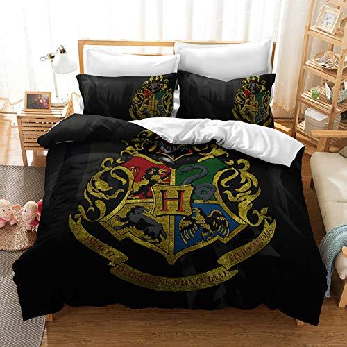 QXbecky Bedding Set Magic Logo, Brushed to Keep Warm, Microfiber Quilt Cover, Pillowcase 2~3 Piece Set, Magic Academy 230x260cm