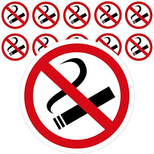 11 x Aufkleber Rauchen Verboten (5 cm - Rund) - UV-Resistent - Vorgestanzt - Für Außen und Innen - Perfekte Alternative zum Nicht Rauchen Schild - Rauchen verboten Aufkleber 5cm