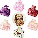 6 Pieces Claw Clips Tortoise Hair Claw Acetate Hair Clip Tortoise Shell French Design Celluloid Hair Clamps Non Slip Jaw Clips Barrette Hair Accessories for Women Girls (Elegant Pattern)