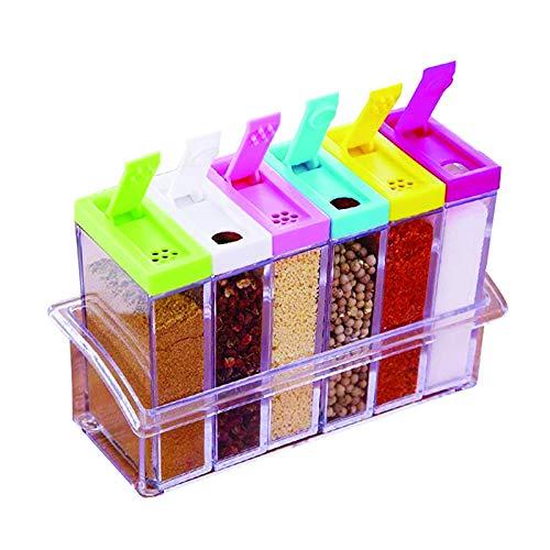 sylbx Gewürzgläser Transparente,6 Pcs Kunststoff Gewürzbox Set,Versiegeltes Gewürzbehälter Gewürzflaschen,Gewürzdosen,Dauerhaft,Gewürzbox Plastik für Aufbewahrung Küche Salz Pfeffer Gewürze