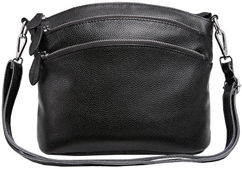Heshe Womens Genuine Leather Handbags Shoulder Bag Small Bags Designer Handbag Crossbody Satchel and Purses for Ladies (Black)