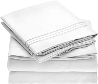 Mellanni Bed Sheet Set - Brushed Microfiber 1800 Bedding - Wrinkle, Fade, Stain Resistant - Hypoallergenic - 4 Piece (King, White)