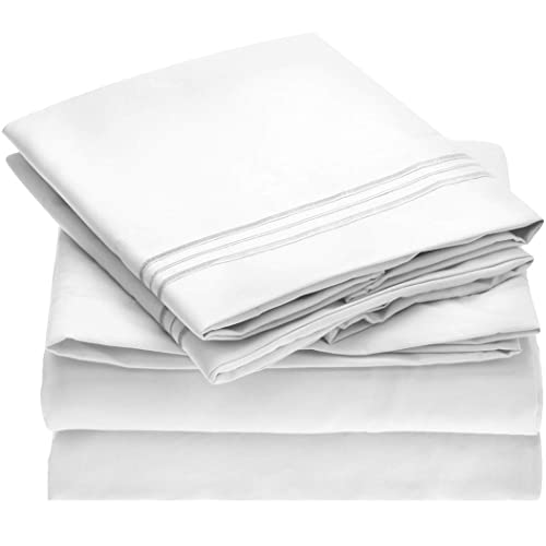 Mellanni Bed Sheet Set - Brushed Microfiber 1800 Bedding - Wrinkle, Fade, Stain Resistant - 4 Piece (Queen, White)