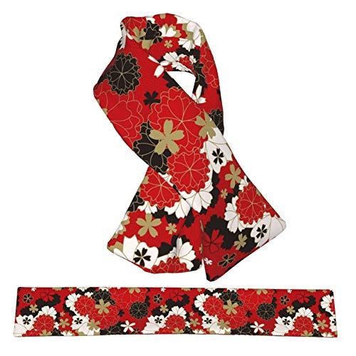 QWERDF Japonés clásico Sakura Floral en Rojo, Bufandas de Cuello de Franela de Felpa, Doble faz, Suave, Ligero, Cruzado, Bufanda y Abrigos para Mujeres y Hombres