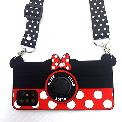 Galaxy A10E Case Cute Samsung A10E Case Minnie Mouse 3D Carton Camera Ring Grip Holder Kickstand Lanyard Teens Girls Women Soft Silicone Rubber Phone Case Cover for Samsung Galaxy A10E -5.83' (A10E)