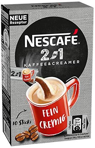 Nescafé 2-in-1 Sticks, löslicher Bohnenkaffee mit Kaffeeweißer, Instant-Kaffee aus erlesenen Kaffeebohnen, koffeinhaltig, (80g)