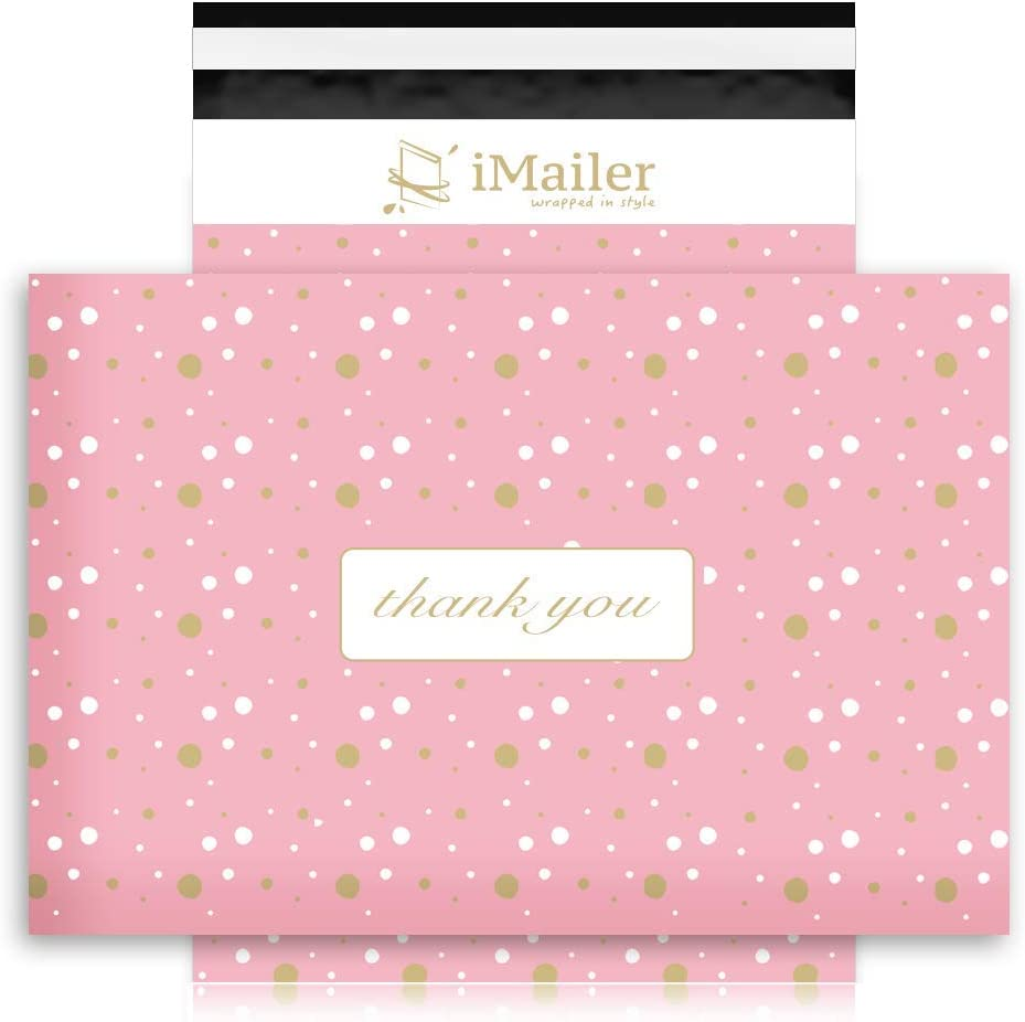 "iMailer - 10"" x 13""(100 Count), Pink Polka Dot - Thank You Poly Mailer Envelope, Mailing Shipping Bags with Self Seal Strip"