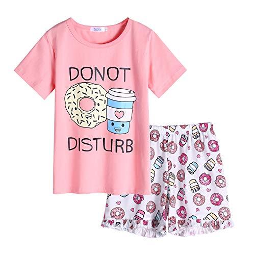 Arshiner - Pigiama corto estivo, da bambina, in cotone, due pezzi, pigiama a maniche corte Rosa ciambella. 110 cm