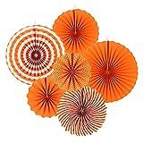 ANCLLO Juego de 12 abanicos de papel para colgar fiestas, diseño redondo, guirnaldas de papel, decoración para cumpleaños, boda, graduación, eventos, accesorios naranja