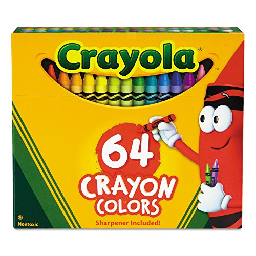 Crayola 52064D Classic Color Crayons in Flip-Top Pack with Sharpener, 64 Colors
