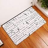 OPLJ Alfombra de Suelo Impresa con Notas de rima Musical para Sala de Estar, baño, Cocina, Entrada, Felpudo Antideslizante A9 40x60cm