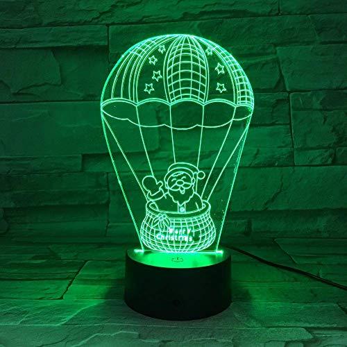 MQJ Lámpara de Ilusión de Santa Claus 3D para Niños Niños Niñas Regalo 3D Luz de Noche para Dormitorio Al Lado de la Mesa, 16 Colores Cambiando de Color Lámpara de Humor Lámpara Mesa de Mesa Regalo d