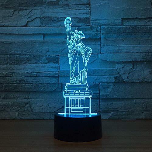 3D-Illusionslampe führte Nachtlicht New York City Freiheitsstatue Touch Desk Lampe Fernbedienung Home Schlafzimmer Dekor Weihnachtsgeschenk