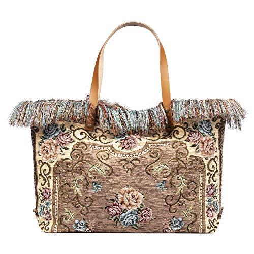 FIRENZE ARTEGIANI. Zama Borsa Shopper Donna Tessuto Cotone Crochet Borsa Shopper.Made in Italy.54x13x33 cm Colore: tortora scuro.