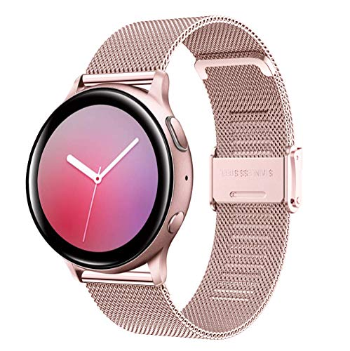 YASPARK Correa para Galaxy Watch3 41mm/Galaxy Watch Active2 40mm 44mm, 20 mm Correa de Acero Inoxidable Correa de Malla Tejida para Galaxy Watch 42mm/Gear Sport/Gear S2 Classic/Vivomove/HR