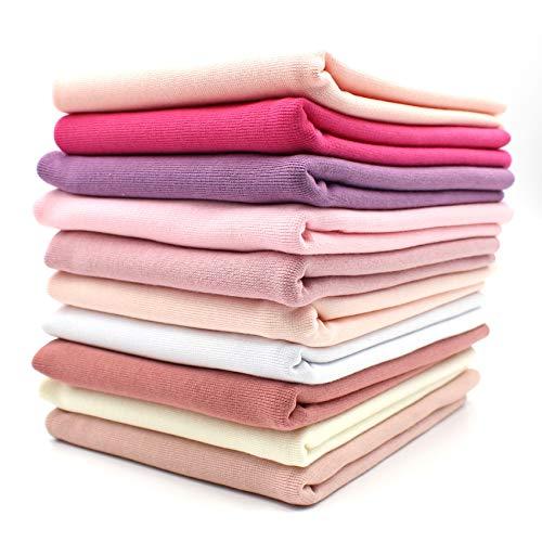 10x 0,25m Bündchenstoff Set Schlauchware 70cm breit 95% Baumwolle, 5% Elasthan Auswahl Jersey (Rosatöne, 10er Set)