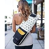 Organic Yoga Mat Bag- Eco Friendly Yoga Bag for Extra Wide Mats- Grey Blue Mat Carrier for Men & Women: Full Zip, Adjustable Carry, Pockets, GOTS 100% Cotton Canvas, Fair Trade Certified Environmental